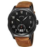 Philip Stein Prestige Big Date Mens Black Stainless Steel Watch - Swiss Made with Luminous Hands and Numbers Brown Leather Band - Natural Frequency Technology Provides More Energy and Better Sleep