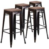 Taylor + Logan 30 Inch High Backless Metal Barstool with Square Wood Seat, Set of 4, Black Antique Gold