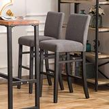 """YEEFY Dining Chairs 30"""" High Bar Height Side Chairs with Wood Legs, Set of 2 (Gray)"""
