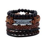 Novadab Women's Bracelets - Dark Brown 'Believe' Bracelet Set