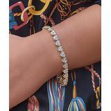 Golden Moon Women's Bracelets Gold - 14k Gold-Plated Cluster Heart Tennis Bracelet With Swarovski Crystals