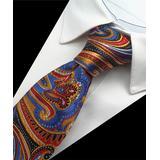 St. Lynn Men's Neckties Red, - Red & Blue Xavian Silk Tie
