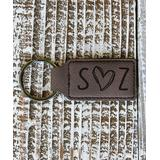 Stamp Out Online Key Chains Dark - Dark Brown Heart Initial Leather Key Chain