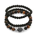 Steel Time Men's Bracelets metallic - Black Lava Skull-Bead Beaded Bracelet Set