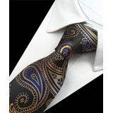 St. Lynn Men's Neckties Blue, - Blue & Gold Persis Silk Tie