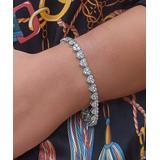 Golden Moon Women's Bracelets Silver - Silvertone Cluster Heart Tennis Bracelet With Swarovski Crystals