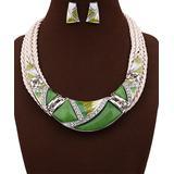 Ella & Elly Women's Earrings Green - Green Bib Necklace & Drop Earrings Set