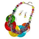 Ella & Elly Women's Earrings Red - Pink & Red Circular Bead Statement Necklace & Earrings Set