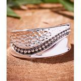 Urban Silver Women's Bracelets SILVER - Sterling Silver Wave-Line Contrast Bangle