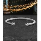 bliss Women's Bracelets Silvertone - Stainless Steel Mesh Cuff
