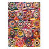 nuLOOM Indoor Rugs Multi - Red & Blue Circle Kindra Shag Rug