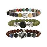 ZAD Women's Bracelets - Agate & Silvertone Hamsa Stretch Bracelet Set