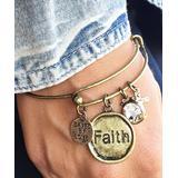 Riah Fashion Women's Bracelets Gold - Goldtone 'Faith' Charm Bangle