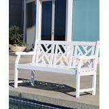 VIFAH Patio Benches White - Crosshatch-Back Bradley Outdoor Wood Bench