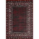 Union Rustic Christopherso Power Loom Red/Black Rug Polypropylene in White, Size 36.0 H x 24.0 W x 0.05 D in | Wayfair