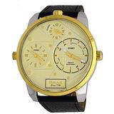 Omax TT01T151 Men's Two Tone Gold Trim XL Big Size 3 Time Zone Brown Leather Band Gold Dial Watch