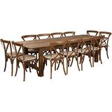 Flash Furniture HERCULES Series 9' x 40'' Antique Rustic Folding Farm Table Set with 12 Cross Back Chairs and Cushions