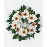 Nearly Natural Wreaths White - 22'' Magnolia Wreath