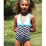Azul Swimwear Girls' One Piece Swimsuits BLUEWHITEBLA - Blue & White Jagged-Edge Halter One-Piece - Girls