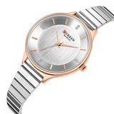 Women Watches Fashion Luxury Quartz-Watches Brand Ladies Casual Dress Sport Clock (Rose Gold White)