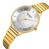 Women Watches Fashion Luxury Quartz-Watches Brand Ladies Casual Dress Sport Clock (Gold White)