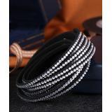 Barzel Women's Bracelets Silver - Black Faux Leather Wrap Bracelet With Swarovski Crystals