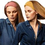 BLOM Original Headband Two Pack. Women's Headbands for Yoga Fashion Workout Sports Athletic Exercise. Wide Sweat Wicking Stretchy. Happy Head Guarantee Style & Quality. (Canyon Rose + Lucky Yellow)