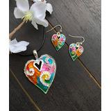 BeSheek Women's Earrings - Rhinestone & Rainbow Mosaic Heart Pendant Necklace & Earrings