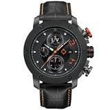 LIV GX-AC Swiss Made Automatic Self Winding Chronograph Analog Casual Watch for Men - 46 mm Stainless Steel with Date Calendar - 300 ft Water-Resistant - Limited Edition to 1,000 Pieces - Orange