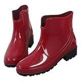 Inornever Ladies Ankle Rain Boots for Women Short Chelsea Booties Waterproof Rubber Slip on Rain Shoes Red 7 B (M) US
