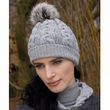 West End Knitwear Women's Beanies Soft - Gray Cable-Knit Pom-Pom Beanie - Women