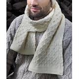 West End Knitwear Cold Weather Scarves Natural - Cream Honeycomb Cable-Knit Wool Scarf - Adult