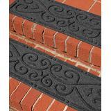 Aqua Shield Indoor Rugs Charcoal - Charcoal Scroll Aqua Shield Stair Tread - Set of Four