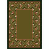 Winston Porter Kelesia Floral Tufted Green Area Rug Nylon in Brown/Green, Size 28.0 W x 0.38 D in | Wayfair FC333B4410124464BE7358528B66B458