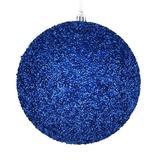 "Vickerman 531280 - 4"" Blue Beaded Ball Christmas Tree Ornament (6 pack) (N185602D)"
