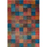 Decomall Modern Geometric Squares Area Rugs Multi Color Mosaic Block Boxes Carpets for Living Room Bedroom 4'x6'