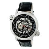 REIGN Men's Watches Silver/Black - Silvertone & Black Thanos Automatic Leather-Strap Watch