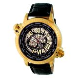 REIGN Men's Watches Gold/White - Goldtone & Black Thanos Automatic Leather-Strap Watch