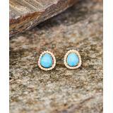 Maya's Gems Women's Earrings Turquoise - Turquoise & 14k Gold-Plated Baby Stone Stud Earrings