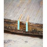 Maya's Gems Women's Earrings Turquoise - Turquoise & 14k Gold-Plated Bar Stud Earrings