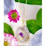 Kwanli Women's Necklaces 14Kt - Raw Drusy Quartz & Amethyst Pendant Necklace