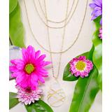 Katherine Winters Women's Necklaces White - Moonstone & 18k Gold-Plated Wrapped Multi-Strand Pendant Necklace