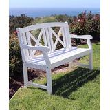 VIFAH Patio Benches White - Cross-Back Bradley Outdoor Wood Bench