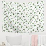 Sweet Jojo Designs Cactus Floral Tapestry Polyester in White, Size 60.0 H x 80.0 W in | Wayfair TapLG-CactusFloral-PK