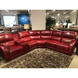 """Southern Motion Fandango 140"""" Wide Symmetrical Reclining Corner Sectional Leather Match/Leather/Genuine Leather in Red   Wayfair"""