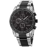 Akribos XXIV Men's Chronograph Watch - 4 Subdials Multifunction Complications with Tachymeter on Heavy Stainless Steel Two-Tone Bracelet Watch - AK1072 (Two-Tone Black)