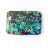 Fig Design Group Women's Fabric Face Masks Green, - Green & Blue Irises RFID-Secure Credit Card Case