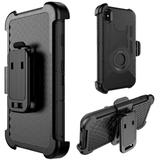 The Anti-Shock Holster Combo Case With Stand Black Silicone Skin + Black Pc For iPhone XS Max