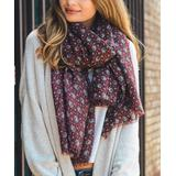 Leto Collection Women's Cold Weather Scarves RED - Red Harvest Frayed-Trim Scarf - Women