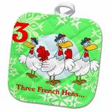 3dRose 12 Days of Christmas three French Hens Potholder Cotton in Green/Red/Yellow, Size 10.0 W in   Wayfair phl_158228_1